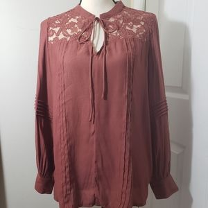Ro & De mauve lace pullover with detailed sleeves